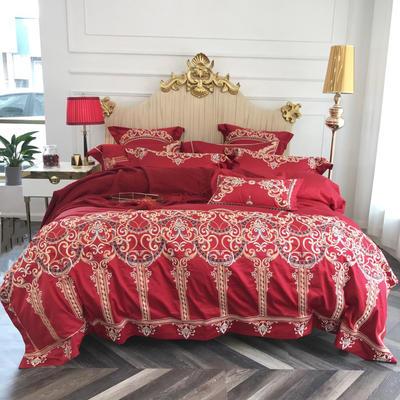 2018新款100支高端婚庆绣花系列四件套-琴瑟和鸣 2.0m(6.6英尺)床 抱枕一只30*50(不含芯)