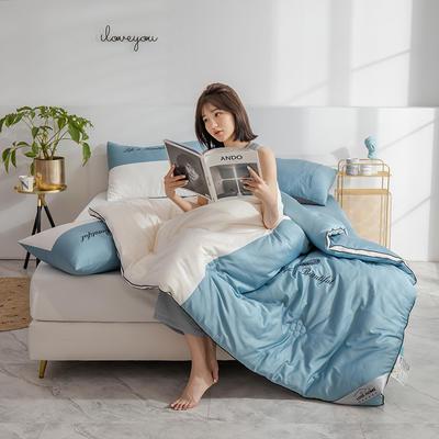 2019新款-全棉60支大豆拼色繡花冬被被子被芯 150x200cm3斤 羽毛藍白
