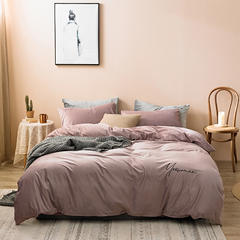 【云仓闪发】2021新款保暖意大利短绒四件套—模特图二 1.5m床单款四件套 酱紫粉