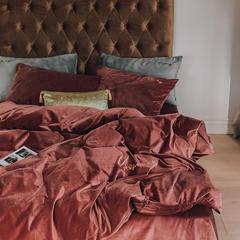 【云仓闪发】2021新款保暖意大利短绒四件套—模特图一 1.5m床单款四件套 茶红