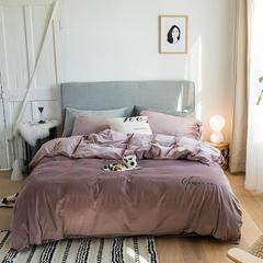【云仓闪发】2021新款保暖意大利短绒四件套—模特图一 1.5m床单款四件套 酱紫粉