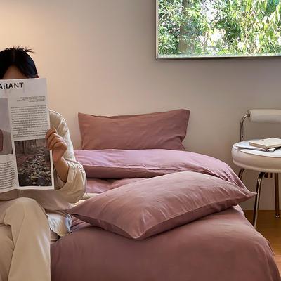 2021新款泡芙原棉水洗棉四件套 1.8m床单款四件套 木槿紫
