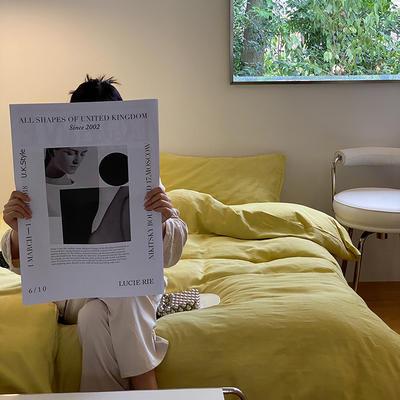 2021新款泡芙原棉水洗棉四件套 1.8m床单款四件套 奶黄