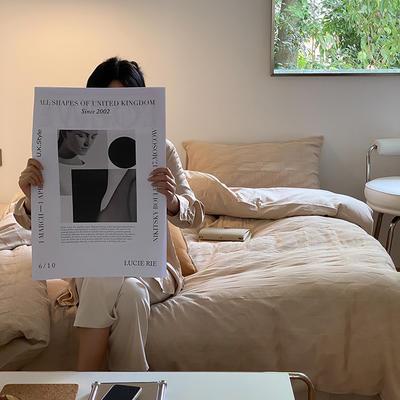 2021新款泡芙原棉水洗棉四件套 1.8m床单款四件套 燕麦