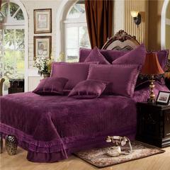 玫瑰绒四件套深紫 1.5m(5英尺)床 深紫床盖式四件套