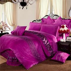 玫瑰绒四件套深紫 1.5m(5英尺)床 雪青床裙式四件套