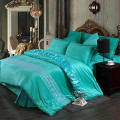 玫瑰绒四件套深紫 1.5m(5英尺)床 湖蓝床裙式四件套