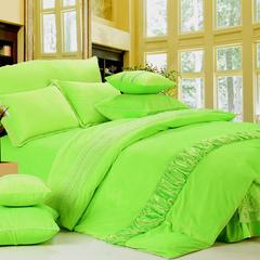 玫瑰绒四件套深紫 1.5m(5英尺)床 荧光绿床盖四件套
