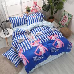 芦荟棉四件套 1.2m(4英尺)床 粉红豹-蓝