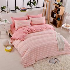 2018四季款-斜纹水洗棉加厚磨毛四件套 (1.5m—2.0m)床 粉白中条