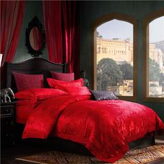 2016德菲斯提花四件套 1.5m(5英尺)床 繁花-大红