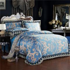 莫代尔提花四件套 2.0m(6.6英尺)床 卢浮时尚-蓝