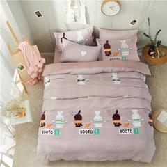 水洗棉系列-水洗棉四件套小清新系列 床笠款1.5m(5英尺)床 可爱兔兔
