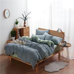 水洗棉系列-水洗棉四件套宜家风系列(床单款) 1.5m(5英尺)床 小格-蓝