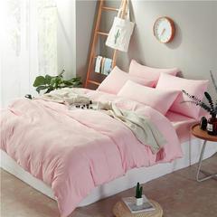 水洗棉系列-水洗棉四件套宜家风系列(床笠款) 1.8m床(被套2.2m) 纯色-玉色