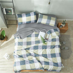 2018新款-水洗棉印花夏被(无印良品宜家风) 1.5米夏被四件套(床单款) 大格-蓝