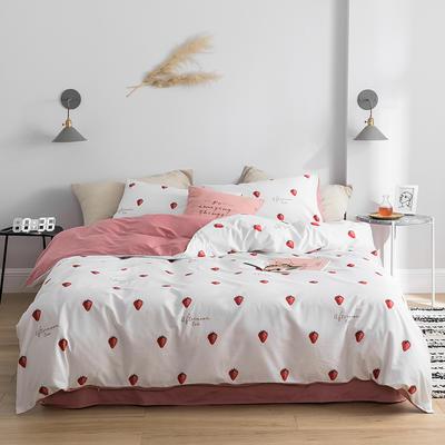 2019新款全棉13372四件套 1.2m床(床单款四件套) 草莓-粉