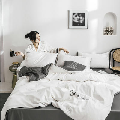 2019新款60纯色双拼四件套 1.2m(4英尺)床 双拼-本白