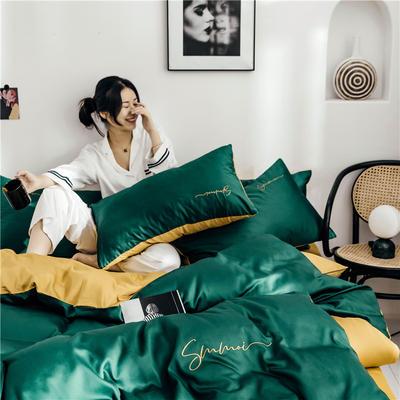 2019新款60纯色双拼四件套 1.2m(4英尺)床 双拼-墨绿