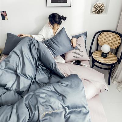 2019新款60纯色双拼四件套 1.2m(4英尺)床 双拼-紫灰