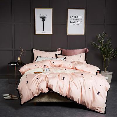 2019新款60重工刺绣四件套 1.5m(5英尺)床 富贵猫