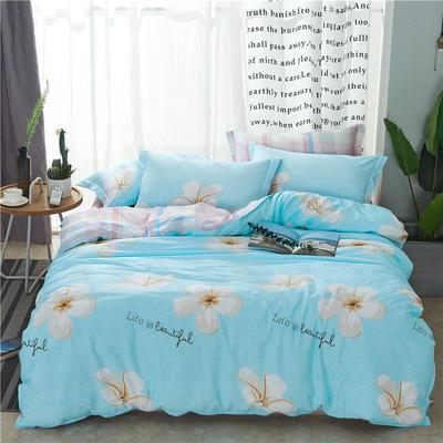 2019新款全棉12868多規格床單款四件套(老花型) 1.0m床(三件套) 幸福朵朵-藍