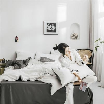 2019新款60純色雙拼四件套配件 單品抱枕套45*45/只 雙拼-本白