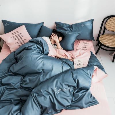 2019新款60純色雙拼四件套配件 單品抱枕套45*45/只 雙拼-賓利藍