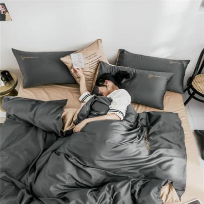 2019新款60純色雙拼四件套配件 單品抱枕套45*45/只 雙拼-高級灰