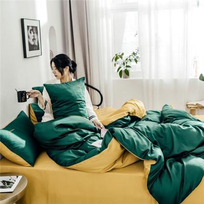 2019新款60純色雙拼四件套配件 單品抱枕套45*45/只 雙拼-墨綠