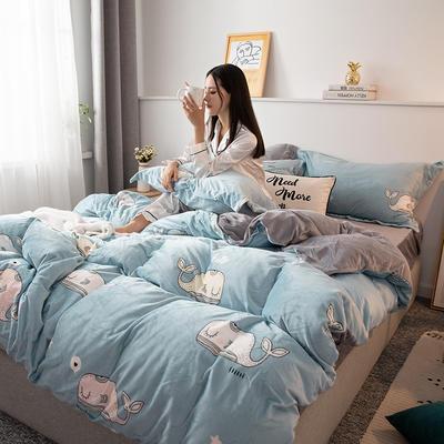 2019新款水晶绒四件套 1.2m床单款三件套 萌鲸-蓝