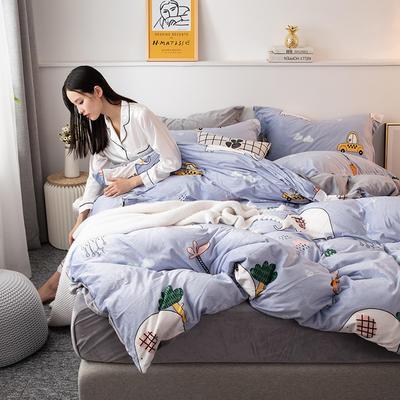 2019新款水晶绒四件套 1.2m床单款三件套 萌象-紫