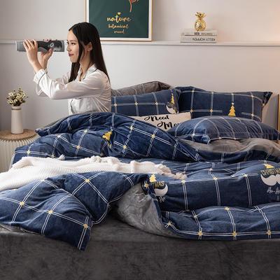 2019新款水晶绒四件套 1.2m床单款三件套 圣诞派-蓝