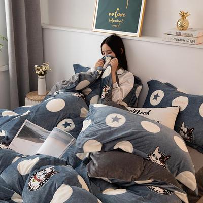 2019新款水晶绒四件套 1.2m床单款三件套 史努比-蓝