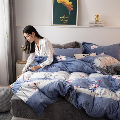 2019新款水晶绒四件套 1.2m床单款三件套 水上芭蕾-紫蓝
