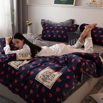 2019新款水晶绒bet36台湾备用_bet36账号怎么注册_bet36备用网站 1.2m床单款三件套 心有独钟-蓝