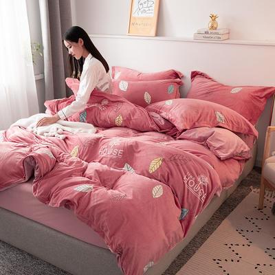 2019新款水晶绒四件套 1.2m床单款三件套 叶叶情意-豆沙