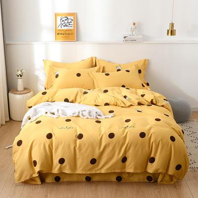 2019新款全棉磨毛四件套 1.5m床单款四件套 时尚波点-黄