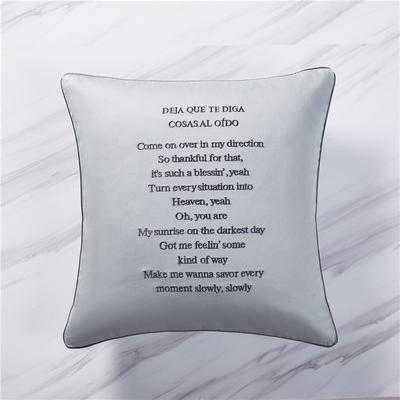 2019新款60纯色刺绣单品抱枕 单枕套45*45/只 浅蓝灰