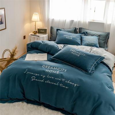 2019新款60长绒棉磨毛奢系列四件套 1.5m(5英尺)床 奢-月光蓝