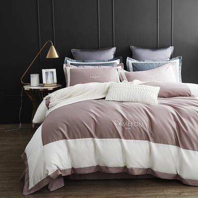 2019新款60长绒棉欧式双拼角系列四件套 1.5m(5英尺)床 欧-奢华豆沙