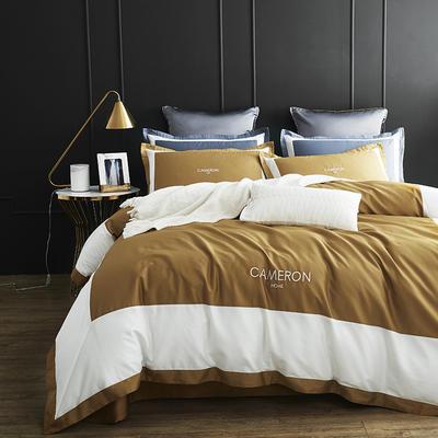 2019新款60长绒棉欧式双拼角系列四件套 1.5m(5英尺)床 欧-奢华金