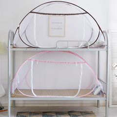 学生宿舍蚊帐免安装上下铺寝室单开门0.9m1m钢丝可折叠蚊帐 1.0m(3.3英尺)床 咖色