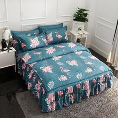 活性磨毛床裙四件套植物羊绒加厚亲肤四季通用1.8m床上用品 1.5m(5英尺)床 火烈鸟
