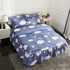 活性磨毛床裙四件套植物羊绒加厚亲肤四季通用1.8m床上用品 2.0m(6.6英尺)床 云朵梦