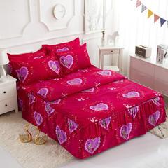 活性磨毛床裙四件套植物羊绒加厚亲肤四季通用1.8m床上用品 2.0m(6.6英尺)床 钟爱一生