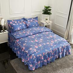 活性磨毛床裙四件套植物羊绒加厚亲肤四季通用1.8m床上用品 1.5m(5英尺)床 绮梦-蓝
