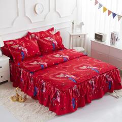 活性磨毛床裙四件套植物羊绒加厚亲肤四季通用1.8m床上用品 1.8m(6英尺)床 相亲相爱