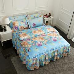 活性磨毛床裙四件套植物羊绒加厚亲肤四季通用1.8m床上用品 1.8m(6英尺)床 兰寇