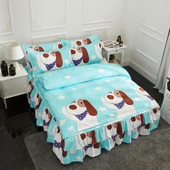 活性磨毛床裙四件套植物羊绒加厚亲肤四季通用1.8m床上用品 1.5m(5英尺)床 彩虹之家-蓝